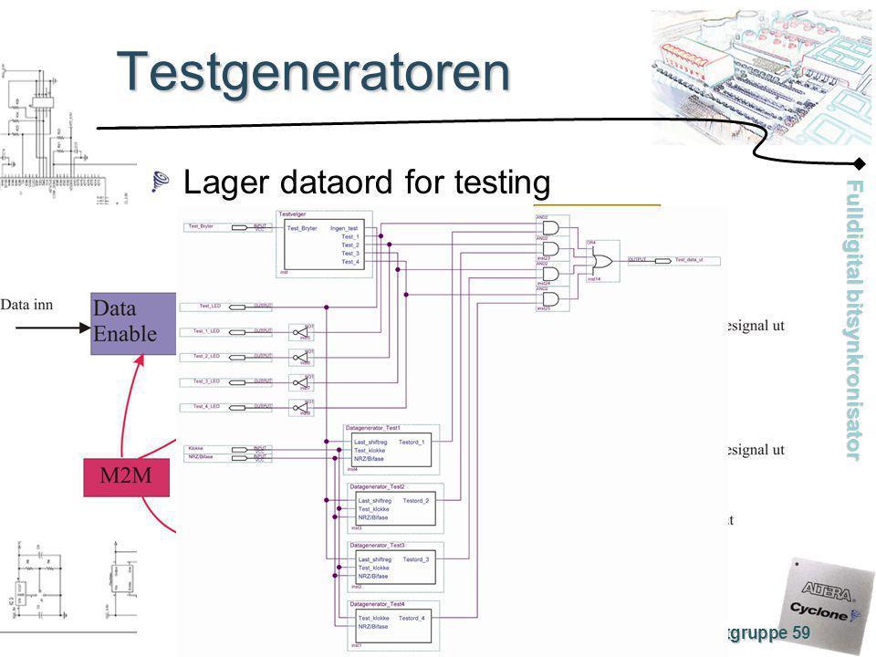 Fulldigital bitsynkronisator Prosjektgruppe 59 Testgeneratoren Lager dataord for testing
