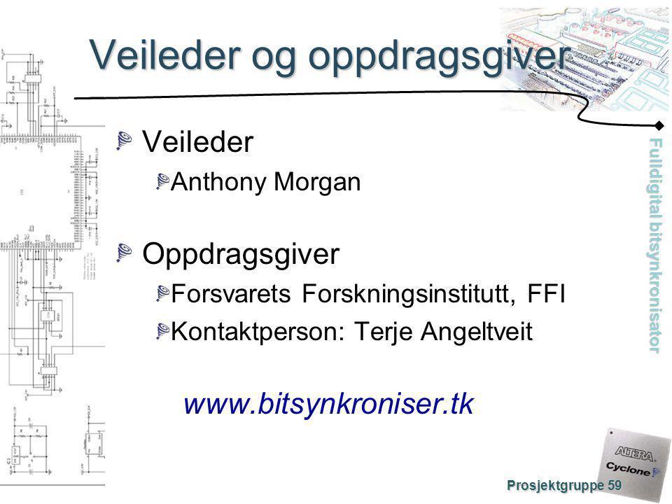 Fulldigital bitsynkronisator Prosjektgruppe 59 Veileder og oppdragsgiver Veileder Anthony Morgan Oppdragsgiver Forsvarets Forskningsinstitutt, FFI Kon