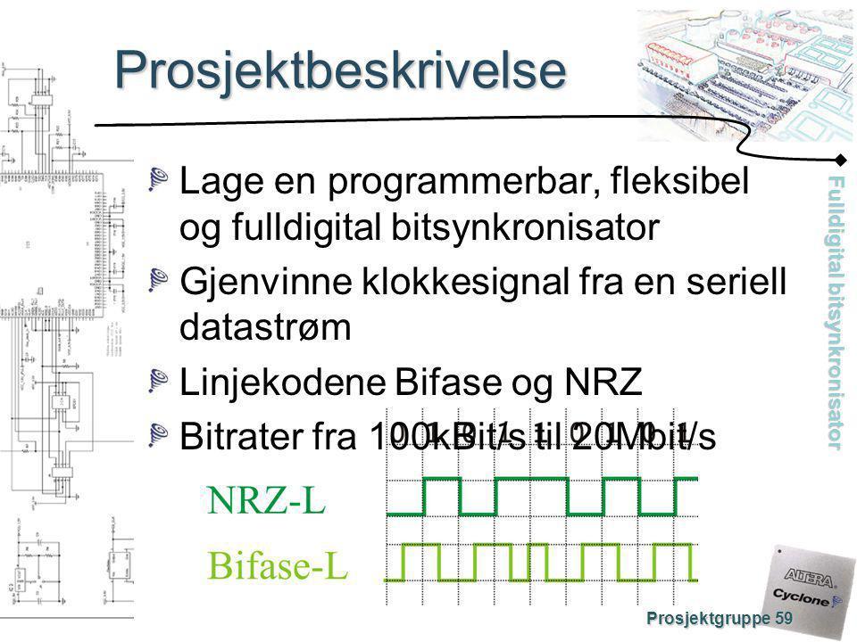 Fulldigital bitsynkronisator Prosjektgruppe 59 Prosjektbeskrivelse Realiseres med Alteras Cyclone FPGA med innebygd PLL Fasedetektor N: VCO f0f0 f0·Nf0·N e