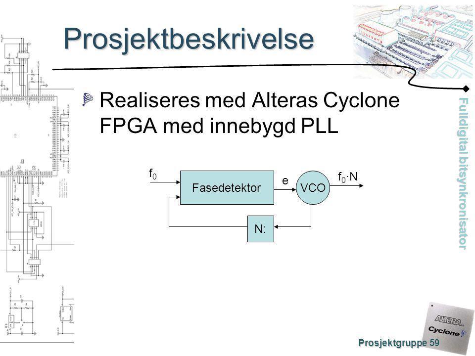 Fulldigital bitsynkronisator Prosjektgruppe 59 Prosjektbeskrivelse Realiseres med Alteras Cyclone FPGA med innebygd PLL Fasedetektor N: VCO f0f0 f0·Nf