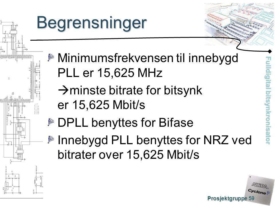 Fulldigital bitsynkronisator Prosjektgruppe 59 Begrensninger Minimumsfrekvensen til innebygd PLL er 15,625 MHz  minste bitrate for bitsynk er 15,625