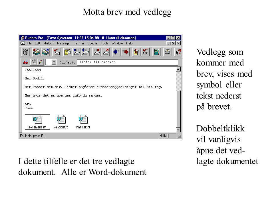 Motta brev med vedlegg Vedlegg som kommer med brev, vises med symbol eller tekst nederst på brevet. Dobbeltklikk vil vanligvis åpne det ved- lagte dok