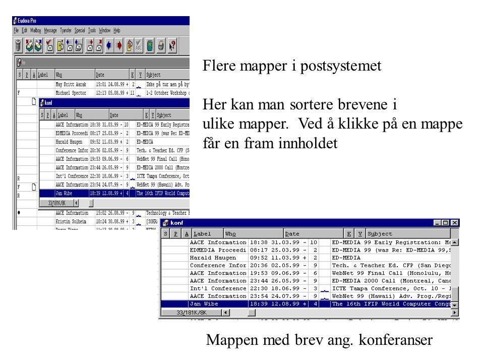 Flere mapper i postsystemet Her kan man sortere brevene i ulike mapper. Ved å klikke på en mappe får en fram innholdet Mappen med brev ang. konferanse