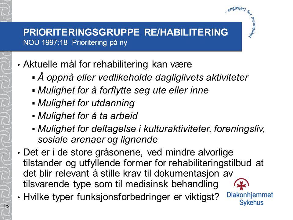 15 Aktuelle mål for rehabilitering kan være  Å oppnå eller vedlikeholde dagliglivets aktiviteter  Mulighet for å forflytte seg ute eller inne  Muli