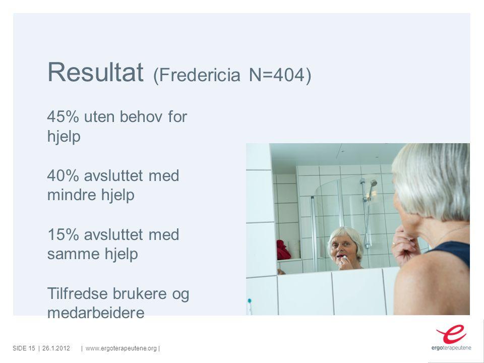 SIDE ||www.ergoterapeutene.org| Resultat (Fredericia N=404) 26.1.2012 45% uten behov for hjelp 40% avsluttet med mindre hjelp 15% avsluttet med samme