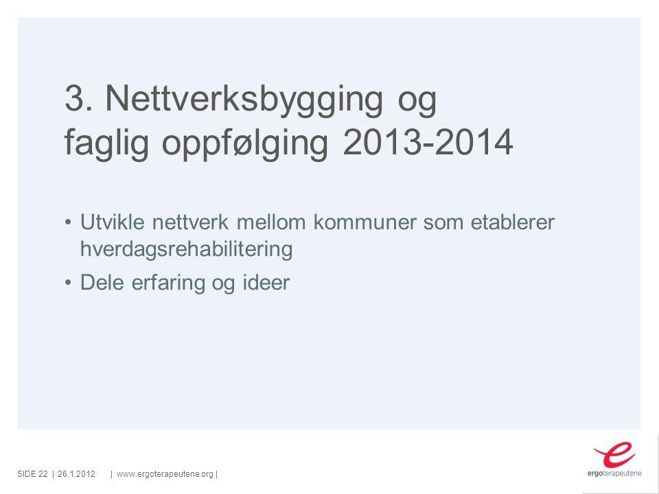 SIDE ||www.ergoterapeutene.org| 3. Nettverksbygging og faglig oppfølging 2013-2014 Utvikle nettverk mellom kommuner som etablerer hverdagsrehabiliteri