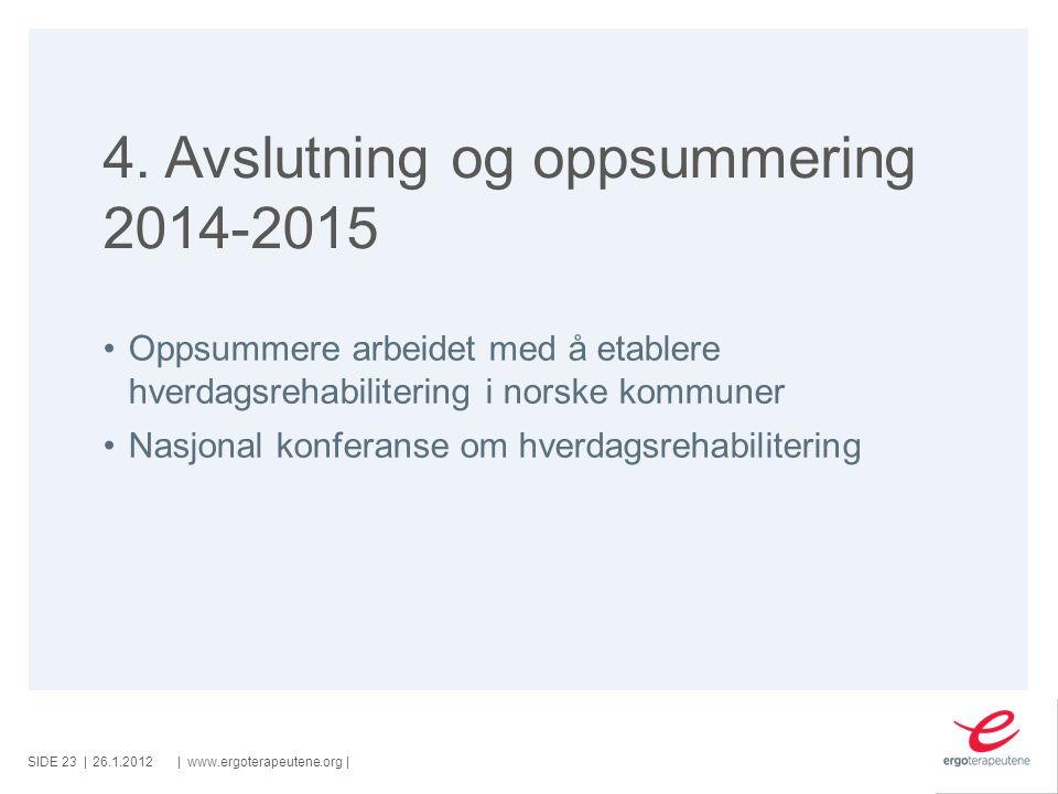 SIDE ||www.ergoterapeutene.org| 4. Avslutning og oppsummering 2014-2015 Oppsummere arbeidet med å etablere hverdagsrehabilitering i norske kommuner Na