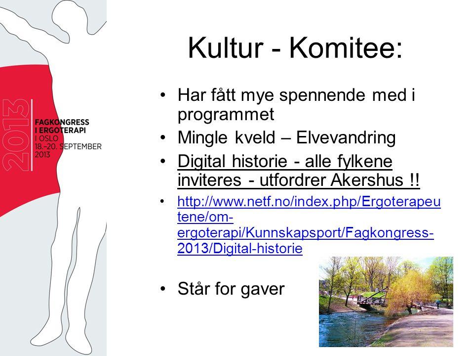 Kultur - Komitee: Har fått mye spennende med i programmet Mingle kveld – Elvevandring Digital historie - alle fylkene inviteres - utfordrer Akershus !.