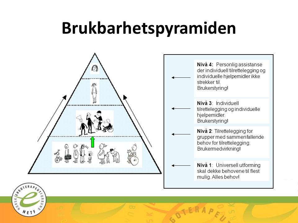 Brukbarhetspyramiden Nivå 4: Personlig assistanse der individuell tilrettelegging og individuelle hjelpemidler ikke strekker til. Brukerstyring! Nivå