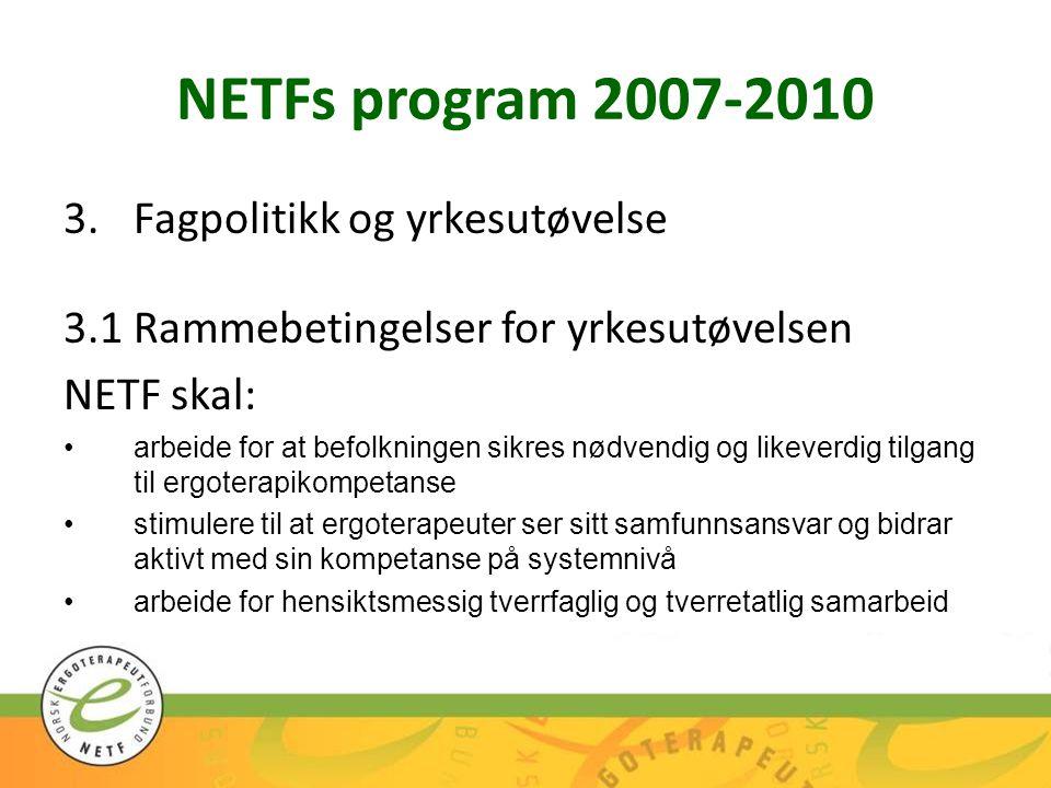 NETFs program 2007-2010 3.Fagpolitikk og yrkesutøvelse 3.1Rammebetingelser for yrkesutøvelsen NETF skal: arbeide for at befolkningen sikres nødvendig