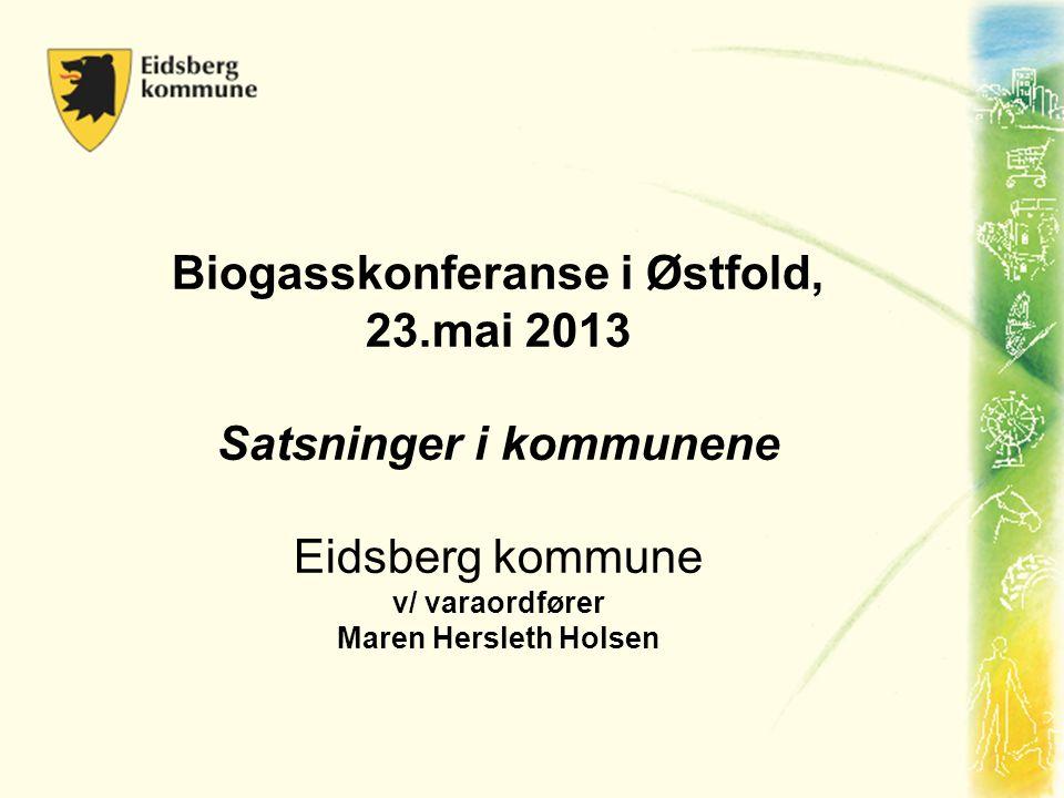 Biogasskonferanse i Østfold, 23.mai 2013 Satsninger i kommunene Eidsberg kommune v/ varaordfører Maren Hersleth Holsen
