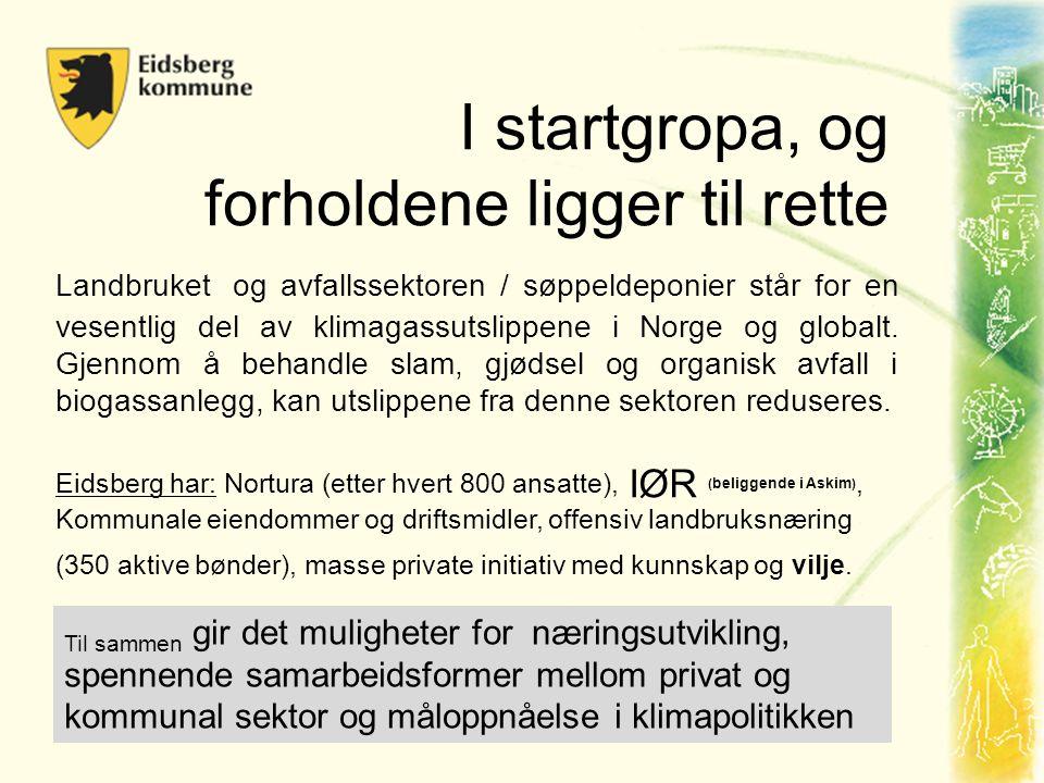 I startgropa, og forholdene ligger til rette Landbruket og avfallssektoren / søppeldeponier står for en vesentlig del av klimagassutslippene i Norge og globalt.