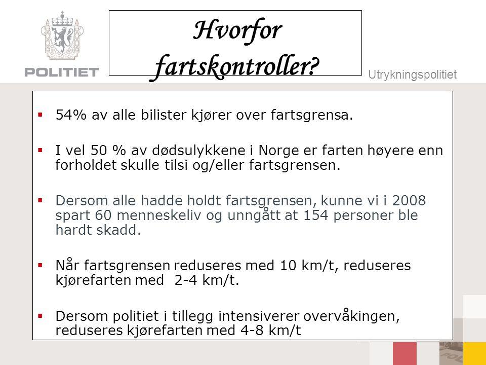 Utrykningspolitiet Hvorfor fartskontroller?  54% av alle bilister kjører over fartsgrensa.  I vel 50 % av dødsulykkene i Norge er farten høyere enn
