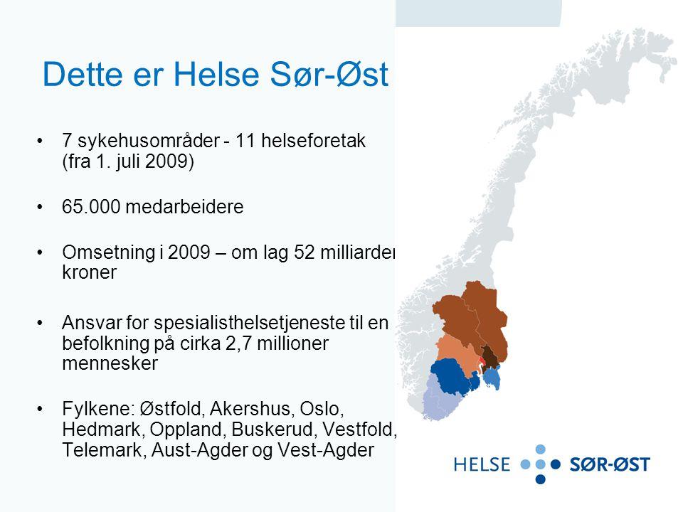 Dette er Helse Sør-Øst 7 sykehusområder - 11 helseforetak (fra 1. juli 2009) 65.000 medarbeidere Omsetning i 2009 – om lag 52 milliarder kroner Ansvar