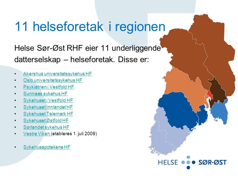 11 helseforetak i regionen Helse Sør-Øst RHF eier 11 underliggende datterselskap – helseforetak. Disse er: Akershus universitetssykehus HF Oslo univer