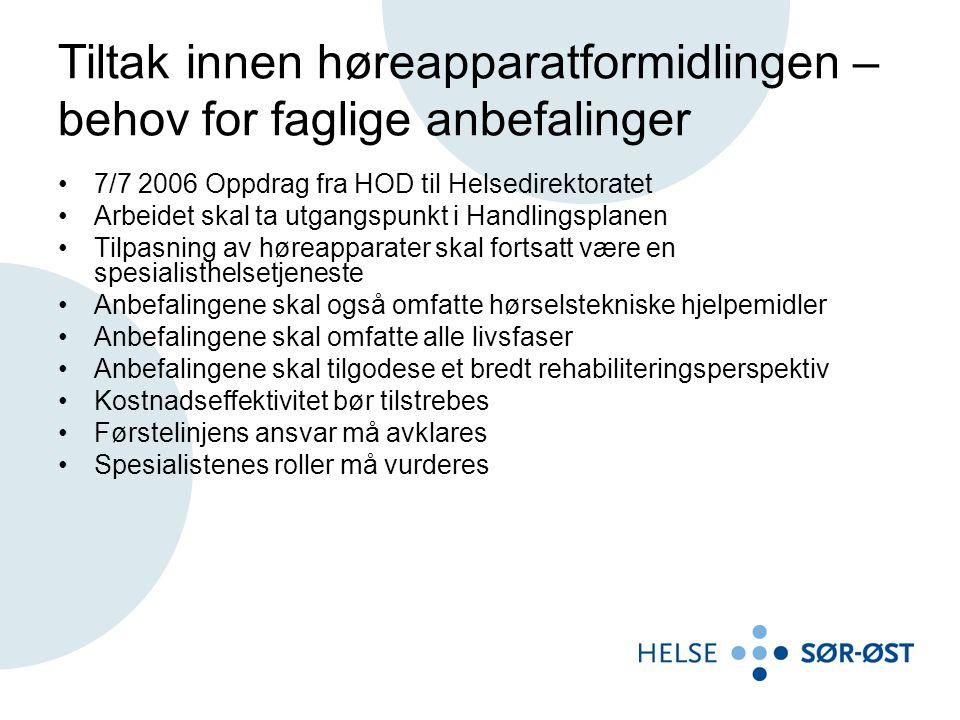 Tiltak innen høreapparatformidlingen – behov for faglige anbefalinger 7/7 2006 Oppdrag fra HOD til Helsedirektoratet Arbeidet skal ta utgangspunkt i H