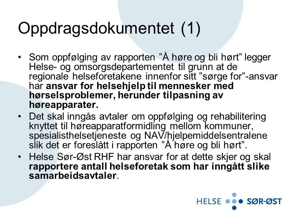 """Oppdragsdokumentet (1) Som oppfølging av rapporten """"Å høre og bli hørt"""" legger Helse- og omsorgsdepartementet til grunn at de regionale helseforetaken"""