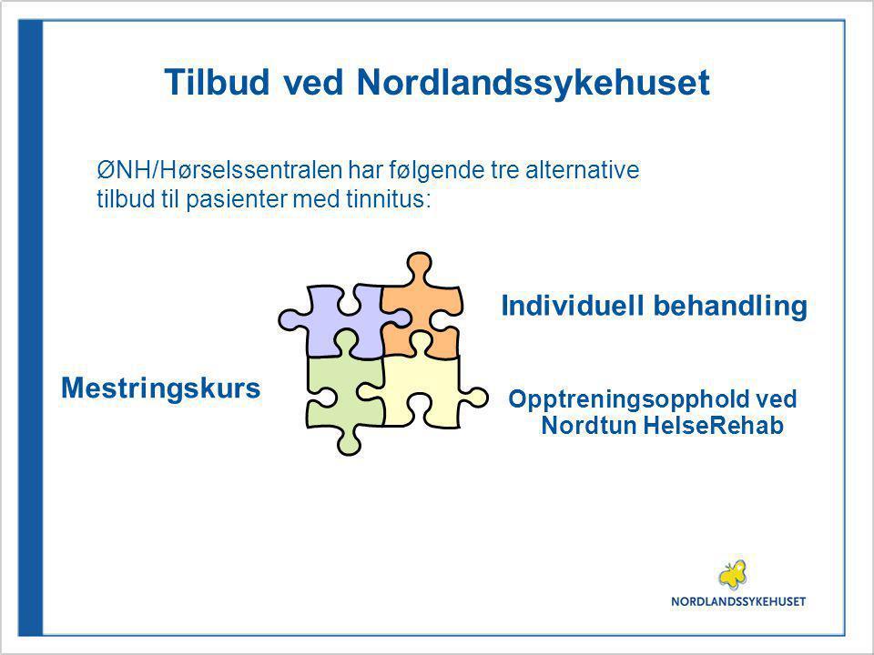 Tilbud ved Nordlandssykehuset ØNH/Hørselssentralen har følgende tre alternative tilbud til pasienter med tinnitus: Mestringskurs Opptreningsopphold ved Nordtun HelseRehab Individuell behandling