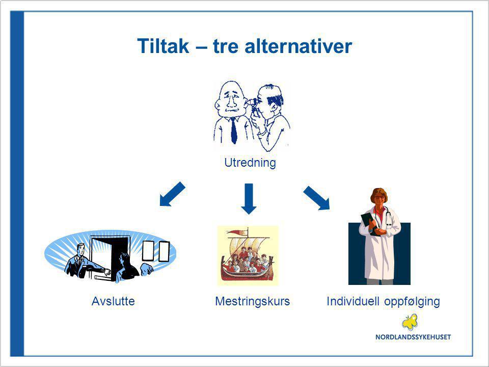Tiltak – tre alternativer Utredning AvslutteMestringskursIndividuell oppfølging