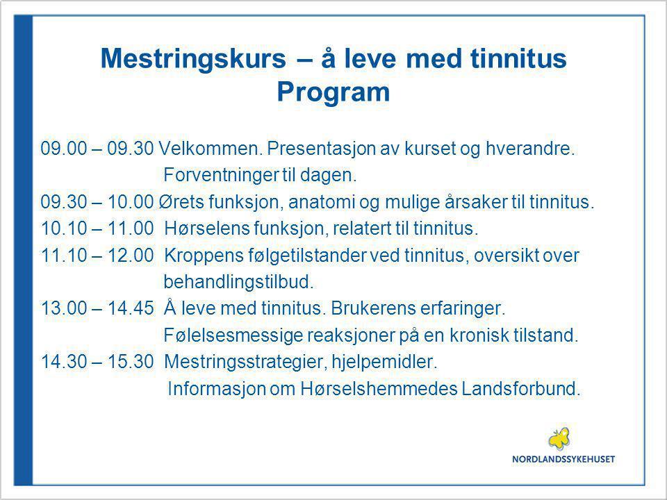 Mestringskurs – å leve med tinnitus Program 09.00 – 09.30 Velkommen. Presentasjon av kurset og hverandre. Forventninger til dagen. 09.30 – 10.00 Ørets