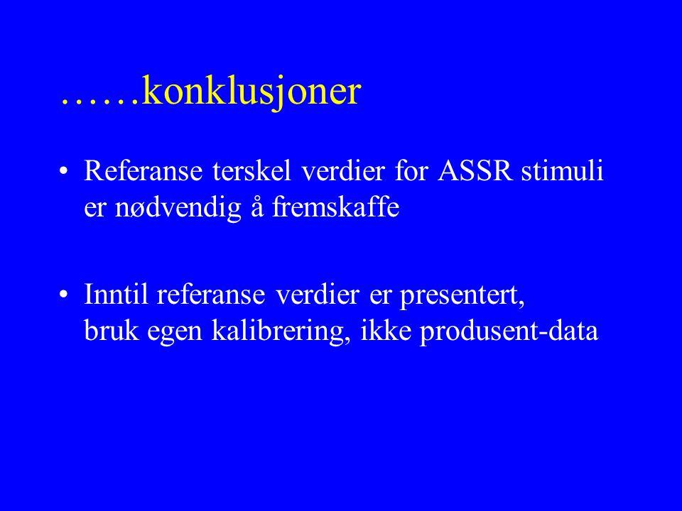 ……konklusjoner Referanse terskel verdier for ASSR stimuli er nødvendig å fremskaffe Inntil referanse verdier er presentert, bruk egen kalibrering, ikk