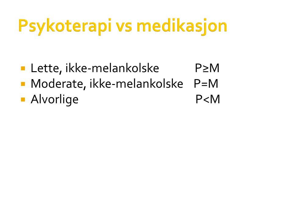 Psykoterapi vs medikasjon  Lette, ikke-melankolske P≥M  Moderate, ikke-melankolske P=M  Alvorlige P<M