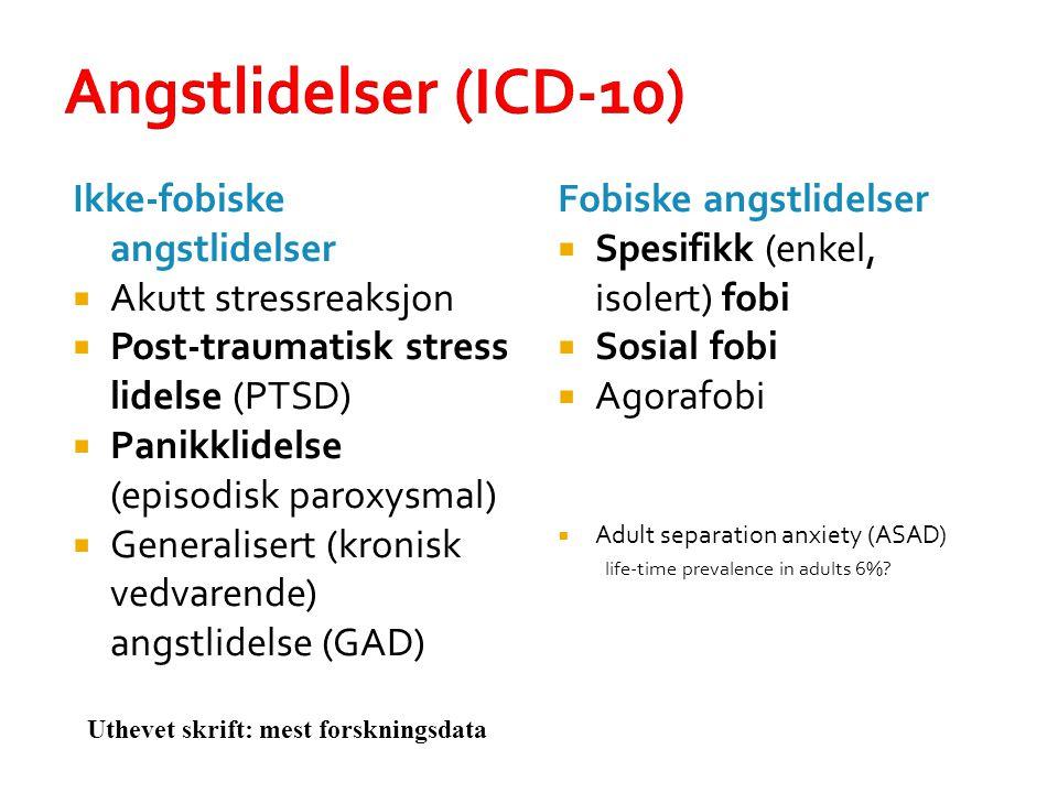 Angstlidelser (ICD-10) Ikke-fobiske angstlidelser  Akutt stressreaksjon  Post-traumatisk stress lidelse (PTSD)  Panikklidelse (episodisk paroxysmal