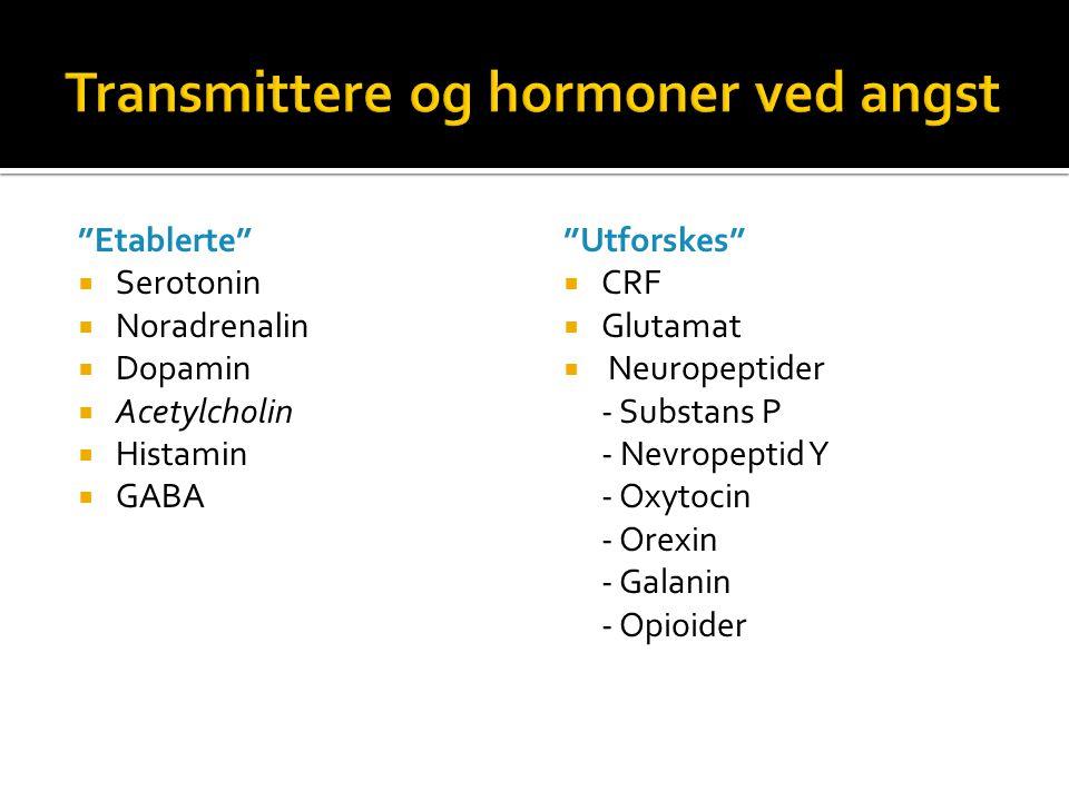 """Etablerte""  Serotonin  Noradrenalin  Dopamin  Acetylcholin  Histamin  GABA ""Utforskes""  CRF  Glutamat  Neuropeptider - Substans P - Nevropep"