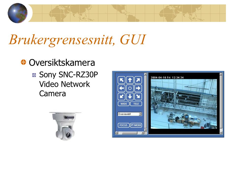 Brukergrensesnitt, GUI Oversiktskamera Sony SNC-RZ30P Video Network Camera