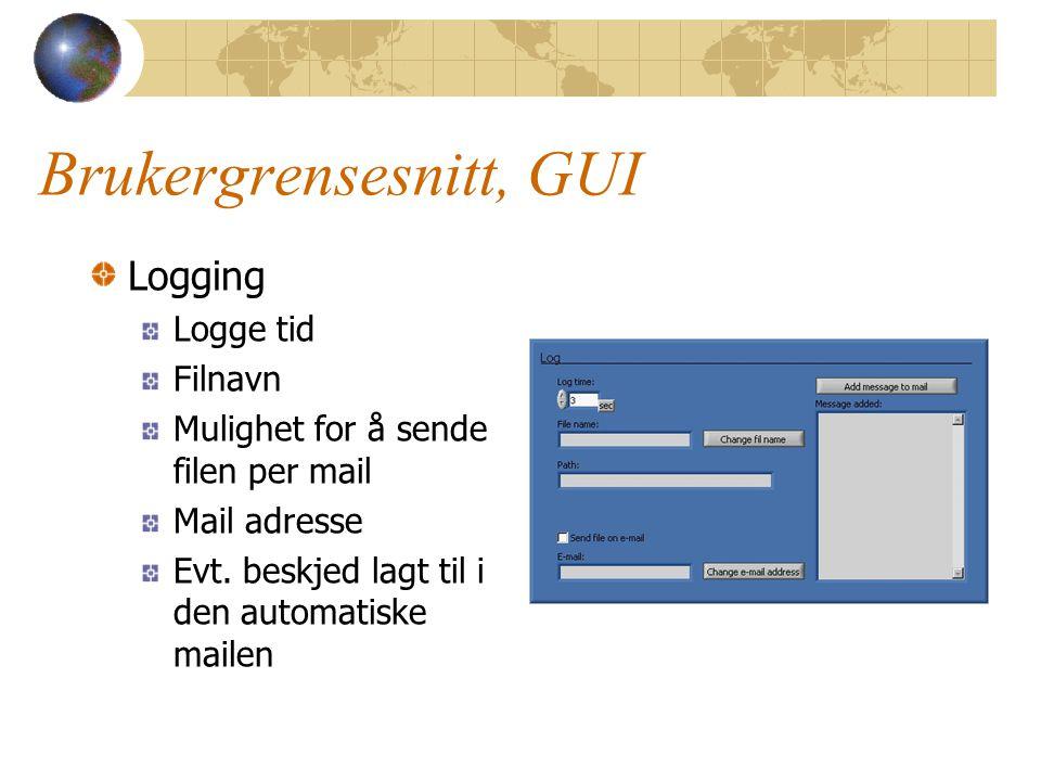Brukergrensesnitt, GUI Logging Logge tid Filnavn Mulighet for å sende filen per mail Mail adresse Evt. beskjed lagt til i den automatiske mailen