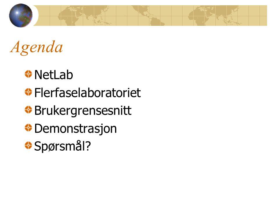 Agenda NetLab Flerfaselaboratoriet Brukergrensesnitt Demonstrasjon Spørsmål?