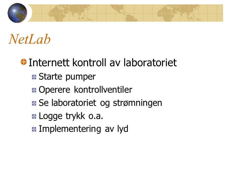 NetLab Internett kontroll av laboratoriet Starte pumper Operere kontrollventiler Se laboratoriet og strømningen Logge trykk o.a. Implementering av lyd
