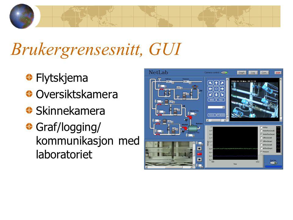 Brukergrensesnitt, GUI Flytskjema Oversiktskamera Skinnekamera Graf/logging/ kommunikasjon med laboratoriet