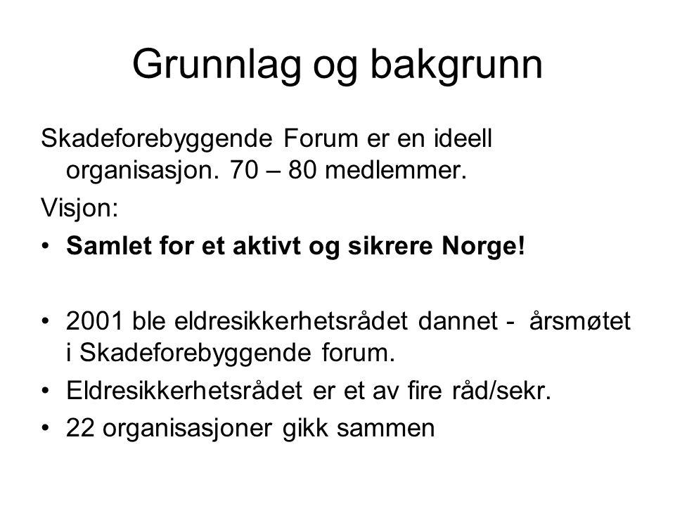 Grunnlag og bakgrunn Skadeforebyggende Forum er en ideell organisasjon. 70 – 80 medlemmer. Visjon: Samlet for et aktivt og sikrere Norge! 2001 ble eld