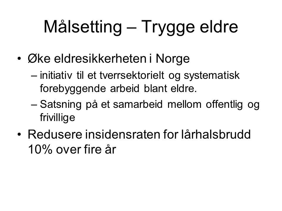 Målsetting – Trygge eldre Øke eldresikkerheten i Norge –initiativ til et tverrsektorielt og systematisk forebyggende arbeid blant eldre. –Satsning på
