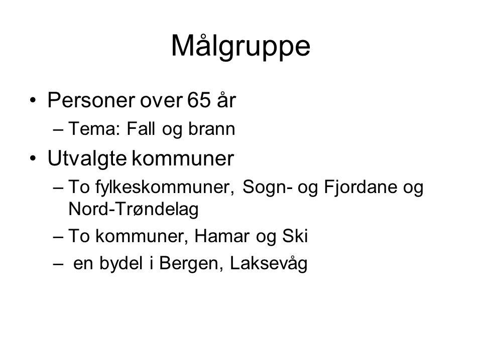 Målgruppe Personer over 65 år –Tema: Fall og brann Utvalgte kommuner –To fylkeskommuner, Sogn- og Fjordane og Nord-Trøndelag –To kommuner, Hamar og Sk