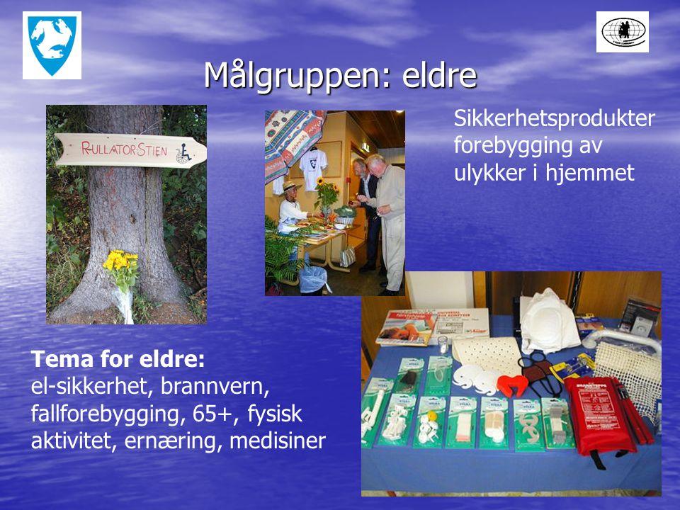 Målgruppen: eldre Sikkerhetsprodukter forebygging av ulykker i hjemmet Tema for eldre: el-sikkerhet, brannvern, fallforebygging, 65+, fysisk aktivitet, ernæring, medisiner
