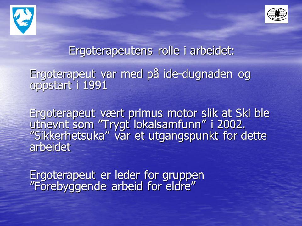 Ergoterapeutens rolle i arbeidet: Ergoterapeutens rolle i arbeidet: Ergoterapeut var med på ide-dugnaden og oppstart i 1991 Ergoterapeut vært primus motor slik at Ski ble utnevnt som Trygt lokalsamfunn i 2002.