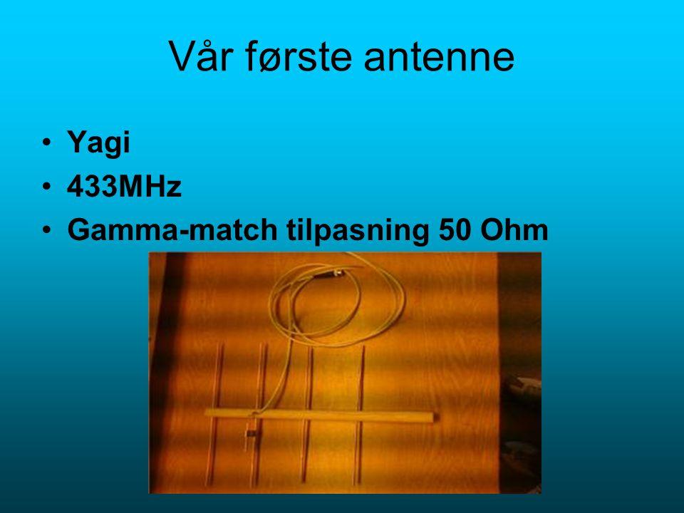 Vår første antenne Yagi 433MHz Gamma-match tilpasning 50 Ohm