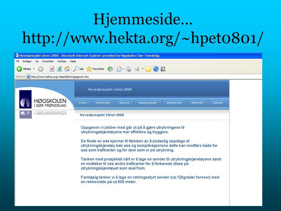 Hjemmeside… http://www.hekta.org/~hpet0801/