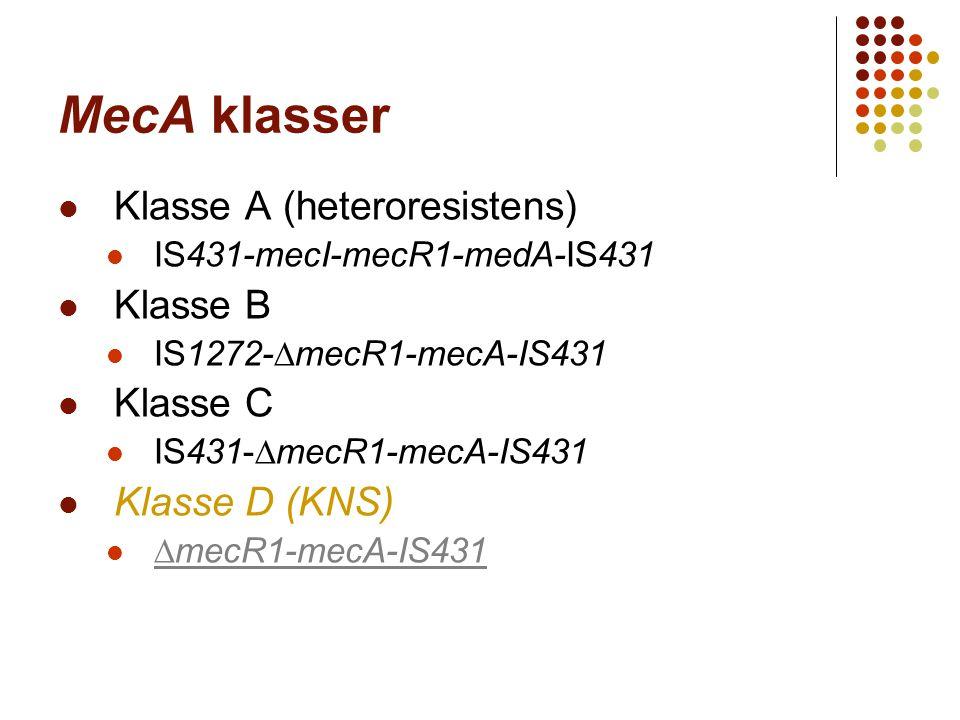 MecA klasser Klasse A (heteroresistens) IS431-mecI-mecR1-medA-IS431 Klasse B IS1272-∆mecR1-mecA-IS431 Klasse C IS431-∆mecR1-mecA-IS431 Klasse D (KNS)