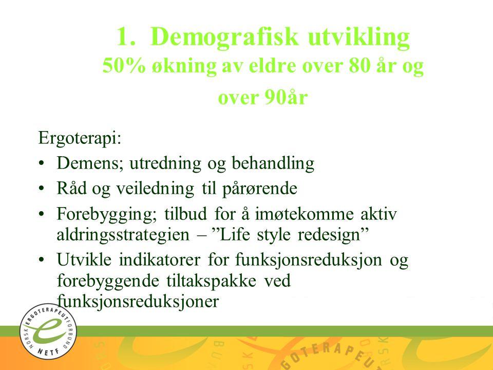 1. Demografisk utvikling 50% økning av eldre over 80 år og over 90år Ergoterapi: Demens; utredning og behandling Råd og veiledning til pårørende Foreb