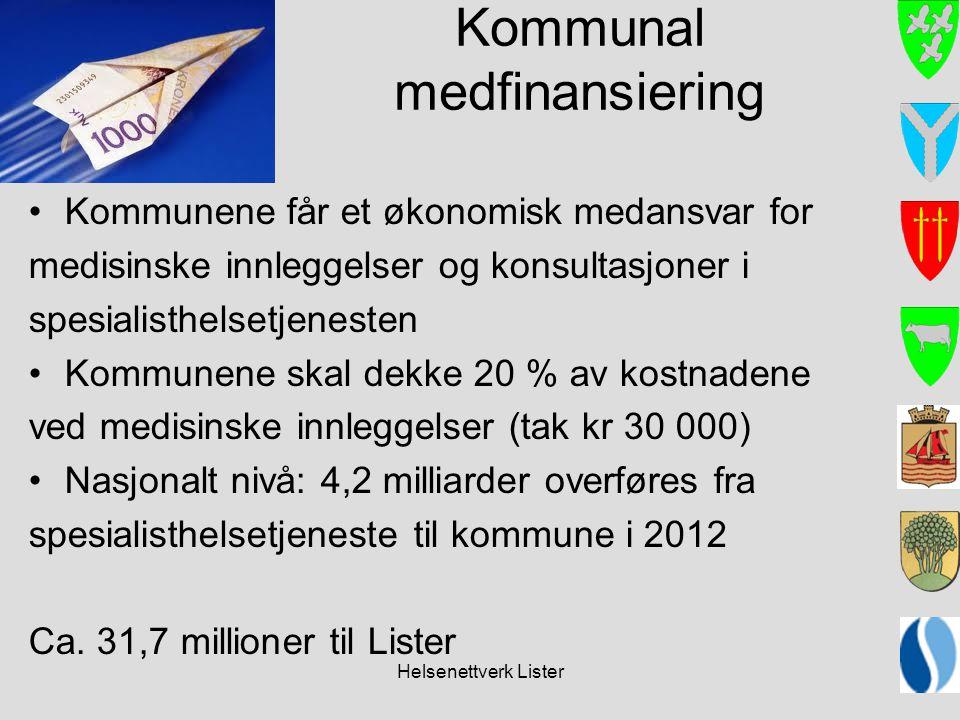 Helsenettverk Lister Kommunal medfinansiering Kommunene får et økonomisk medansvar for medisinske innleggelser og konsultasjoner i spesialisthelsetjen
