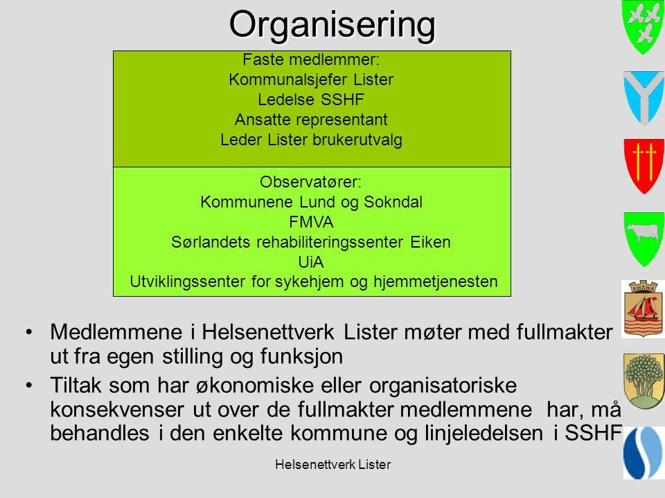 Helsenettverk ListerOrganisering Medlemmene i Helsenettverk Lister møter med fullmakter ut fra egen stilling og funksjon Tiltak som har økonomiske ell