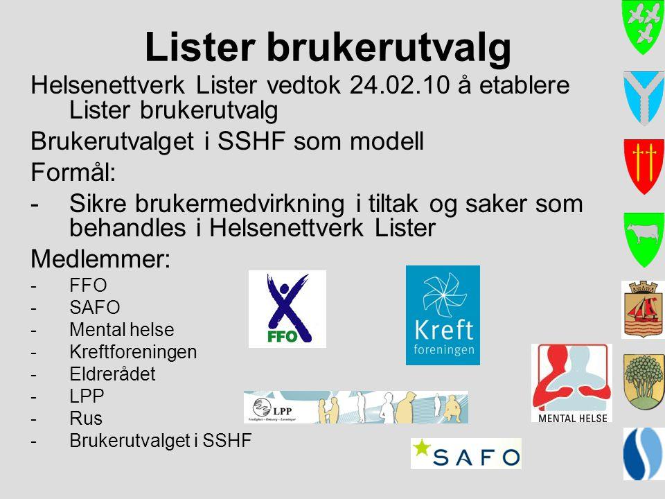 Lister brukerutvalg Helsenettverk Lister vedtok 24.02.10 å etablere Lister brukerutvalg Brukerutvalget i SSHF som modell Formål: -Sikre brukermedvirkn