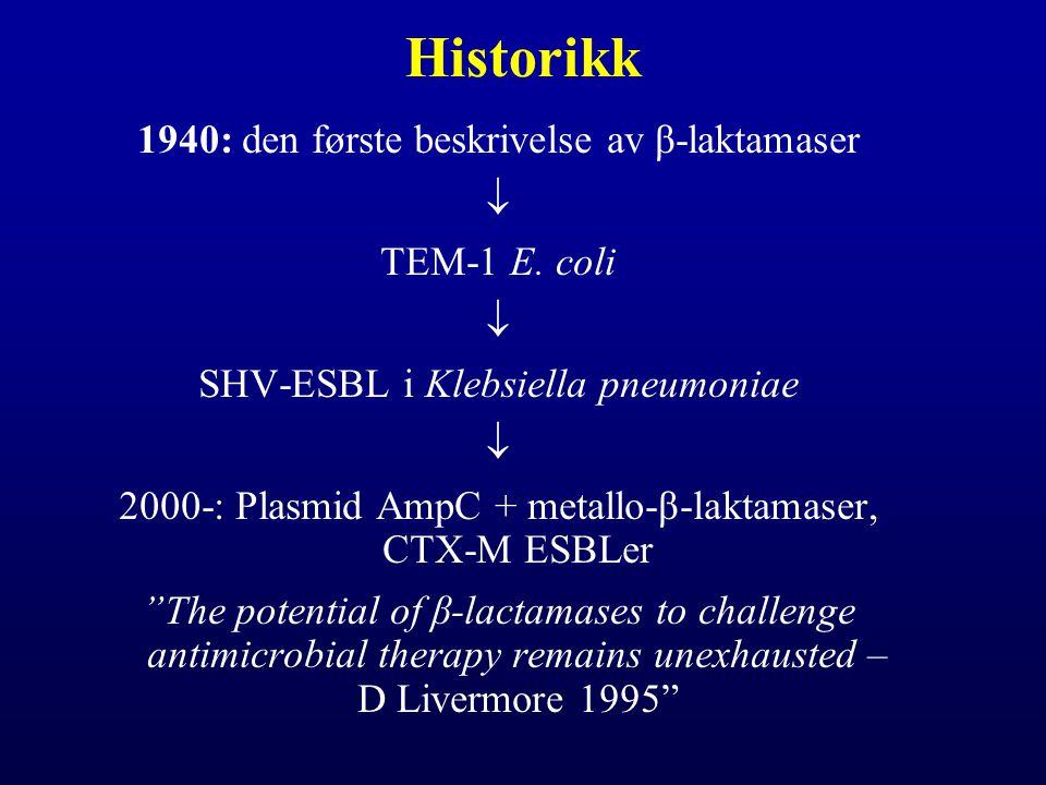 Historikk 1940: den første beskrivelse av β-laktamaser  TEM-1 E. coli  SHV-ESBL i Klebsiella pneumoniae  2000-: Plasmid AmpC + metallo-β-laktamaser