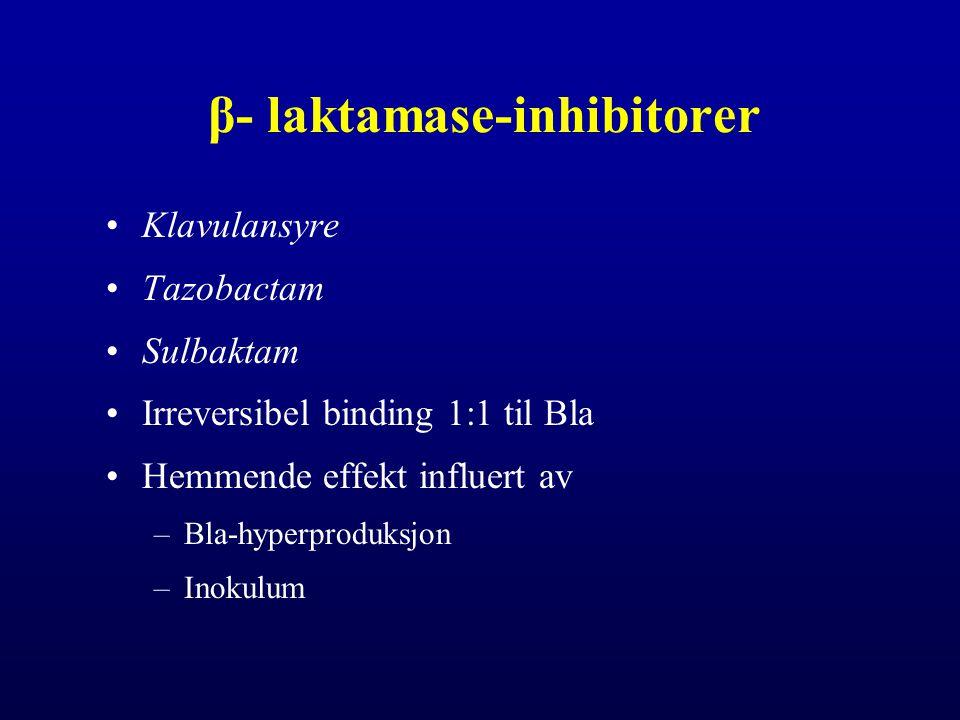 Ambler Bla-klasser – sekvens basert A Plasmid > kromosomal: SHV, TEM, CTX-M etc Pencillinaser  cefalosporinaser (ESBLs) B Kromosomal, plasmid Metallobetalaktamaser (Karbapenem R) C Kromosomal > plasmid: AmpC Cefalosporinaser D Kromosomal, plasmid, divers grupppe Oxacillinaser