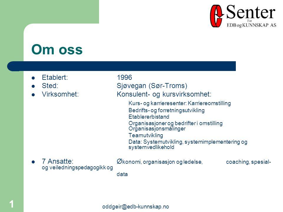 oddgeir@edb-kunnskap.no 1 Etablert:1996 Sted:Sjøvegan (Sør-Troms) Virksomhet:Konsulent- og kursvirksomhet: Kurs- og karrieresenter: Karriereomstilling Bedrifts- og forretningsutvikling Etablererbistand Organisasjoner og bedrifter i omstilling Organisasjonsmålinger Teamutvikling Data: Systemutvikling, systemimplementering og systemvedlikehold 7 Ansatte:Ø konomi, organisasjon og ledelse, coaching, spesial- og veiledningspedagogikk og data Om oss