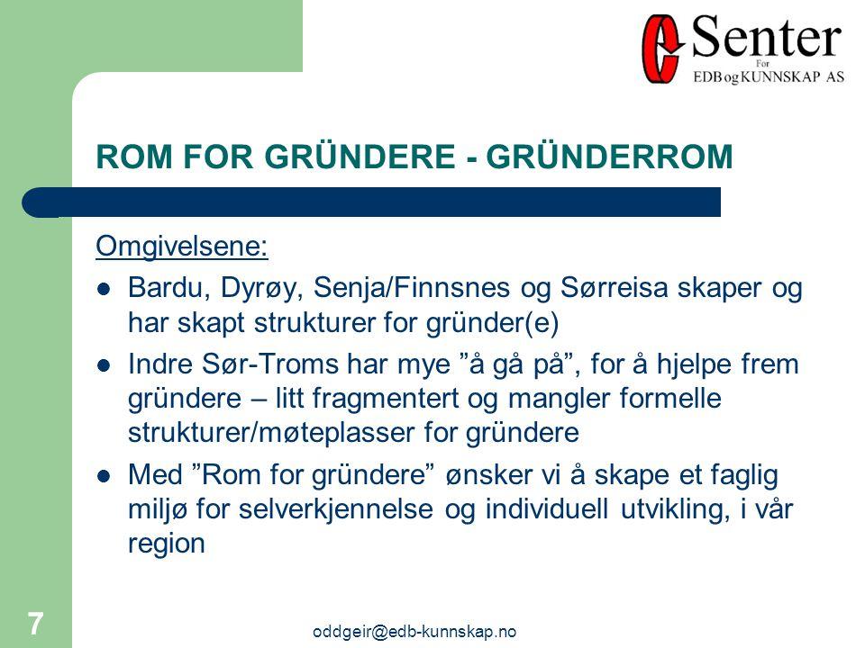 oddgeir@edb-kunnskap.no 7 ROM FOR GRÜNDERE - GRÜNDERROM Omgivelsene: Bardu, Dyrøy, Senja/Finnsnes og Sørreisa skaper og har skapt strukturer for gründer(e) Indre Sør-Troms har mye å gå på , for å hjelpe frem gründere – litt fragmentert og mangler formelle strukturer/møteplasser for gründere Med Rom for gründere ønsker vi å skape et faglig miljø for selverkjennelse og individuell utvikling, i vår region