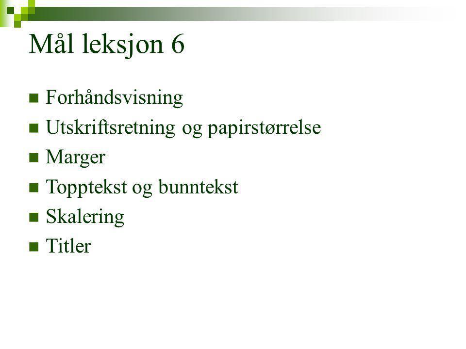 Mål leksjon 6 Forhåndsvisning Utskriftsretning og papirstørrelse Marger Topptekst og bunntekst Skalering Titler